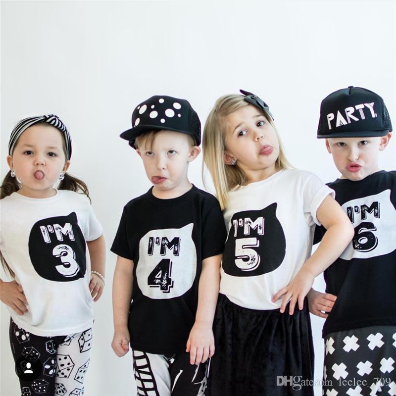 Garçons Filles Enfants Manches Longues Anniversaire Haut Âge Nombre je suis 1 2 3 4 5 6 T-Shirt