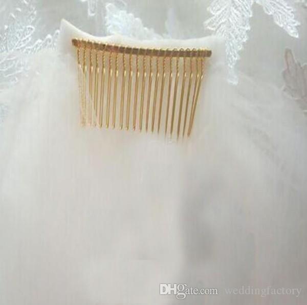 매력적인 긴 신부 베일 아이보리 화이트 소프트 Tulle 웨딩 베일 레이스 Appiques 크리스탈 대성당 Tulle 액세서리 최고 품질