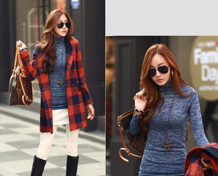 Fashion Autumn slim knittwear Women turtle neck pullover Autumn long sleeve knit shirt