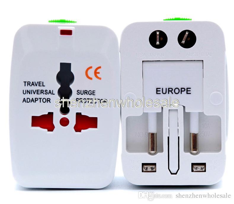 Fiş Surge Protector Evrensel Uluslararası Seyahat Güç Adaptörü Tak ABD UK AB AU AC Tak için evrensel duvar şarj cihazı güç adaptörü Seyahat