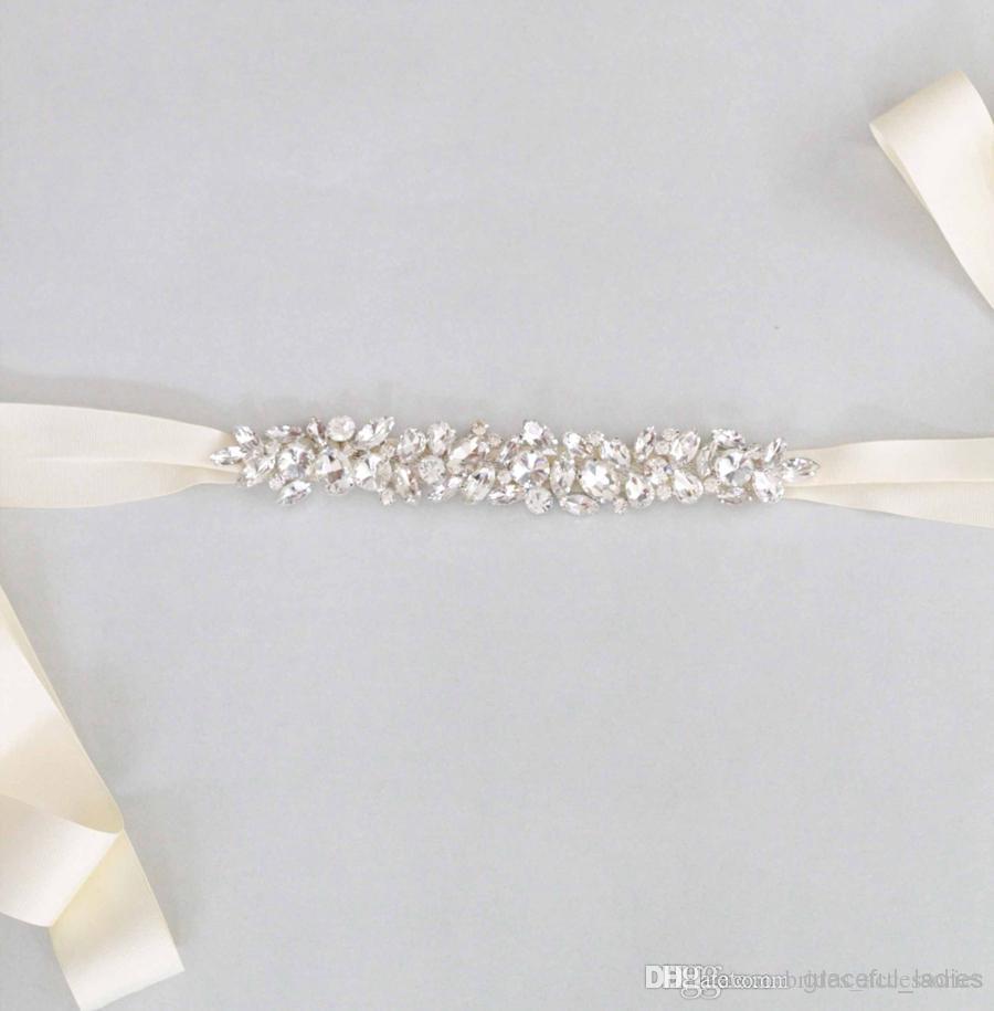 Online Cheap Simple Bridal Swarovski Crystal Wedding Sash Beads ...