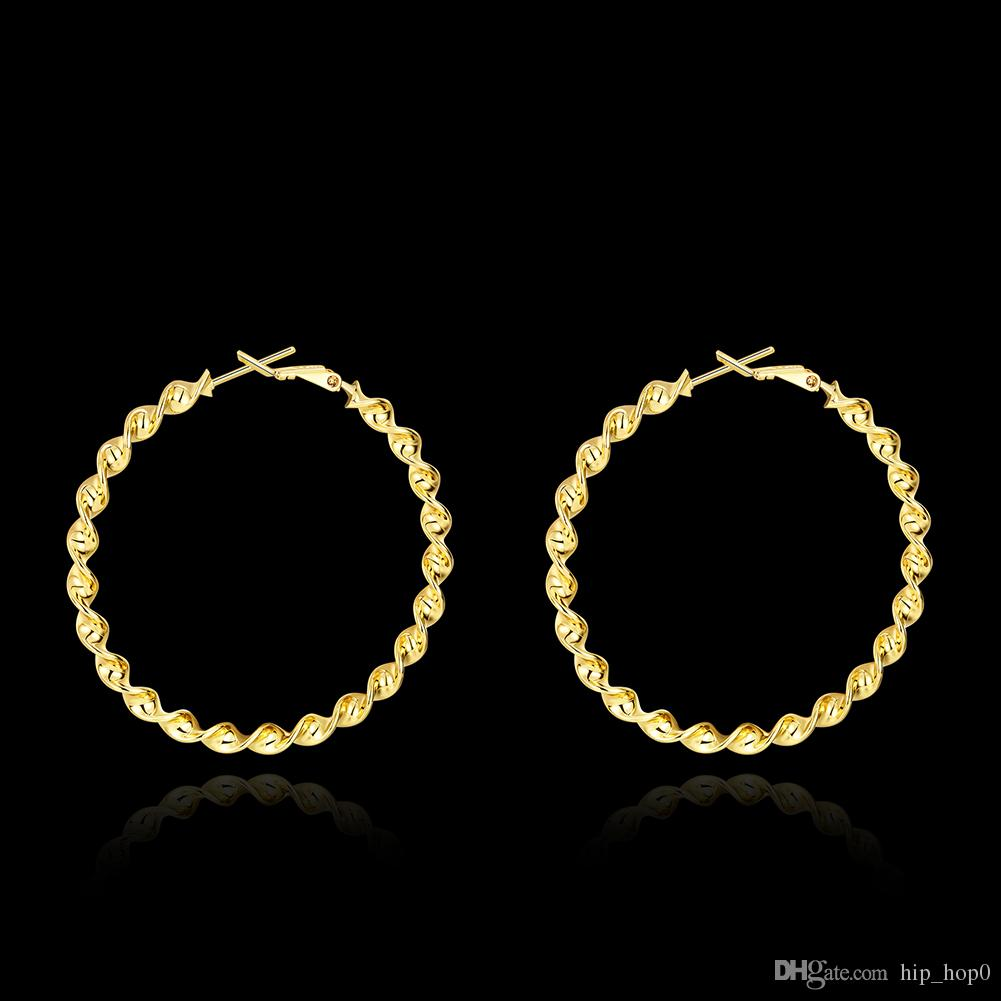 5CM Big Round Circle Hoop Earrings 18K Gold Plated Classic Twisted Statement Earrings For Women Romantic Round Gift Trendcy Fashion Jewelry