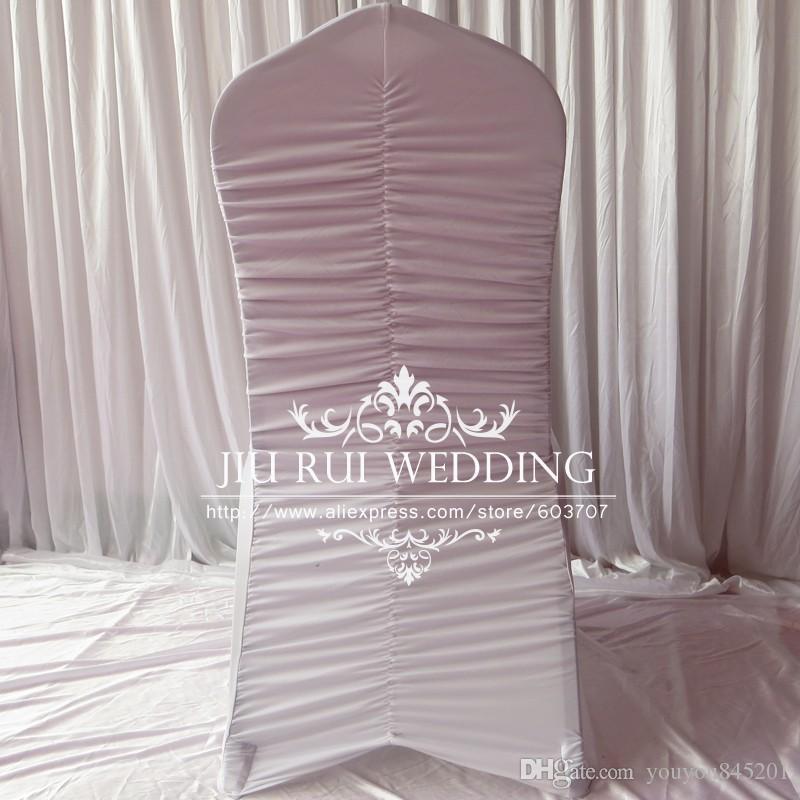 Vit Pläterad / Ruffled Tillbaka Spandex Lycra Bankett Chair Cover Mycket för Bröllopsfest Hotell Decoration