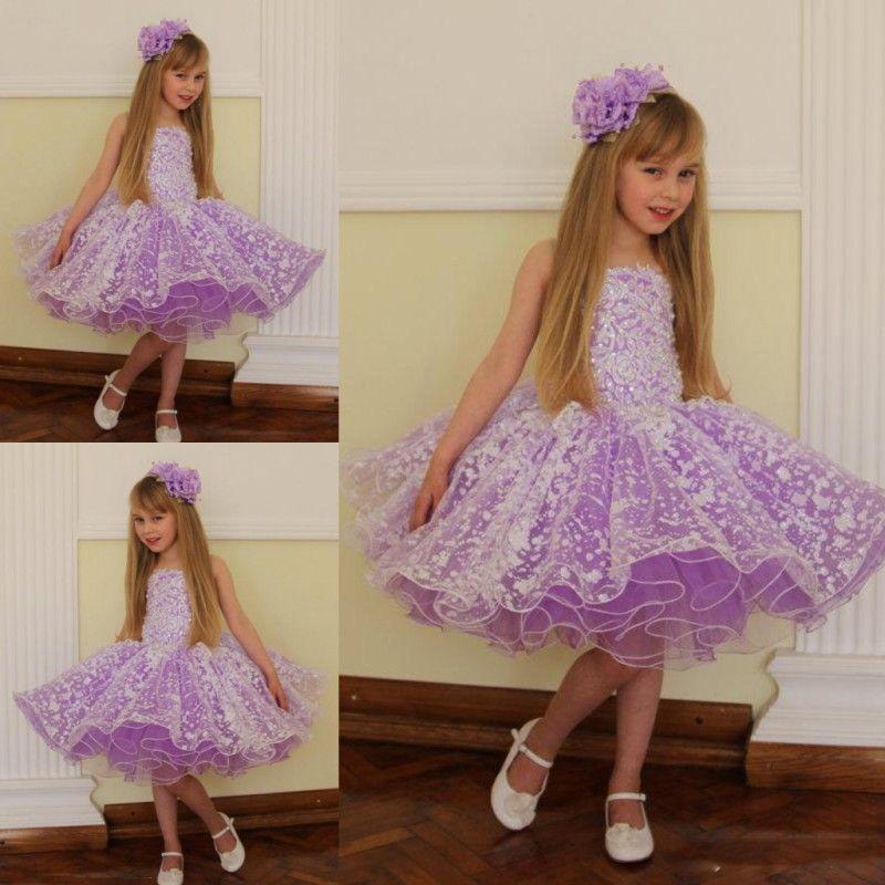 Purple Knee Length Dress for Girls