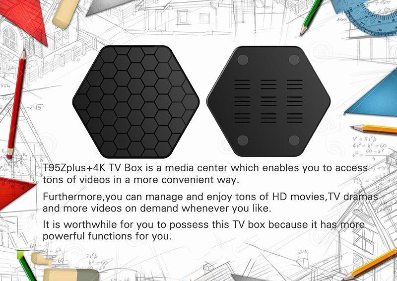 T95Z PLUS الروبوت 7.1 TV BOX S912 الثماني الأساسية 2G 16G 2.4G 5G واي فاي بلوتوث TV BOX ميديا بلاير
