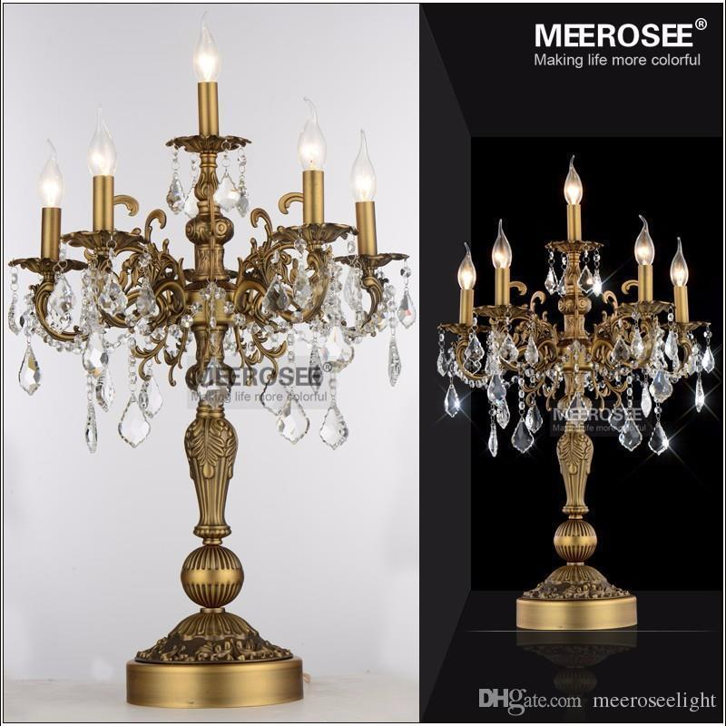 French Vintage Crystal Table lamp Luxury Bronze Color Desk lighting fixture E14 bulbs for Living room Bedroom Hotel table light