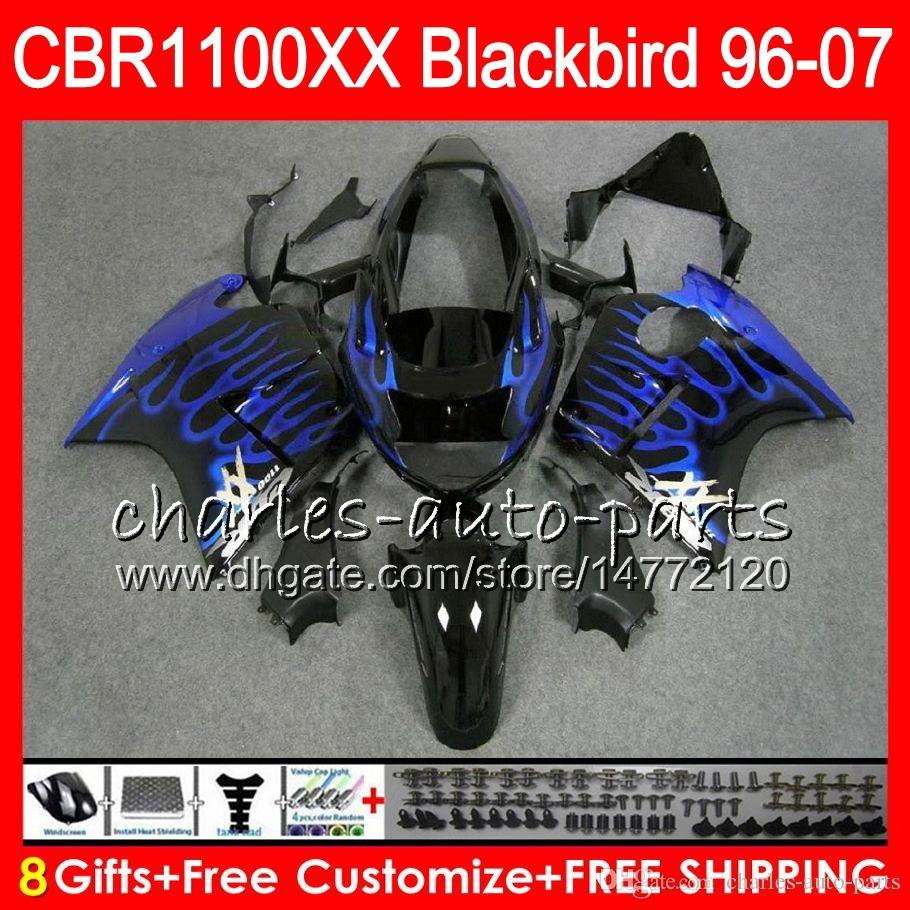Body For HONDA Blackbird CBR1100 XX blue flames CBR1100XX 96 97 98 99 00 01 81NO30 CBR 1100 XX 1100XX 1996 1997 1998 1999 2000 2001 Fairing