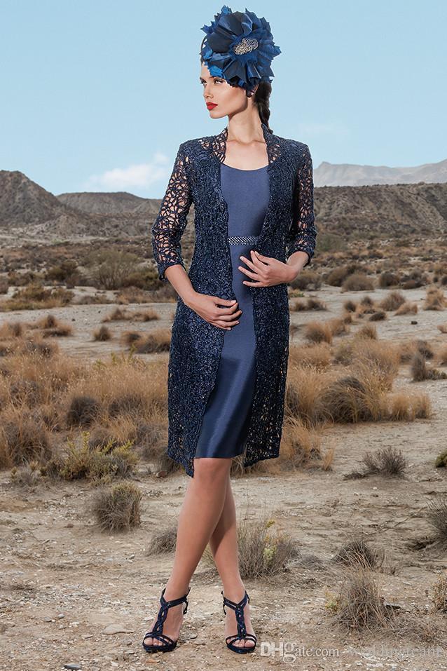 Темно-синее платье для мамы невесты с длинным рукавом с кружевной курткой и бисером свадебное платье для гостей длиной до колен сатиновые вечерние платья