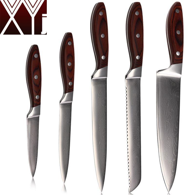 xyj sharp damascus knives 8'' 8'' 8'' 5'' 3.5'' chef slicing bread