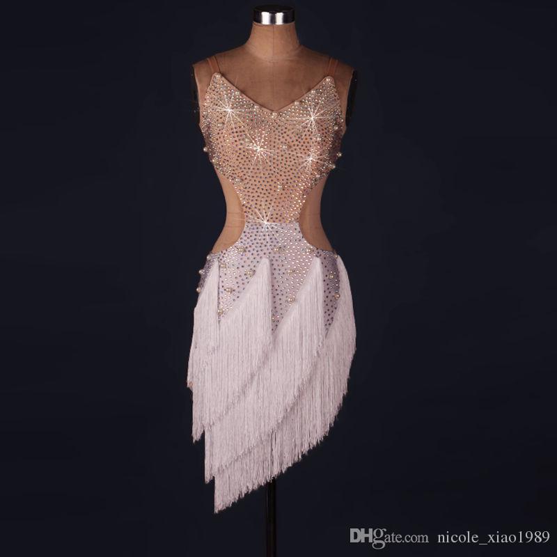 a5a0027cd 2019 White Red Adult/Girls Latin Dance Dress Salsa Tango Cha Cha Ballroom  Competition Practice Dance Dress Rhinestone Pearl Tassel Dress Custom From  ...