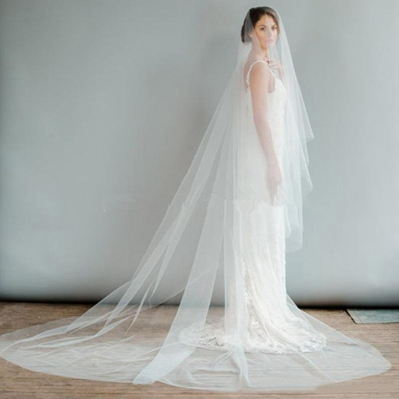 Cheap 2016 One Layer White Tulle Bridal Veils Simple Cut