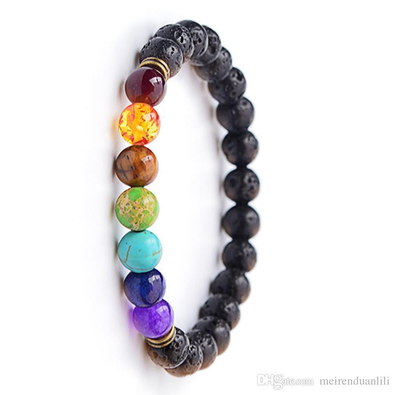 Hot Natural Stone Bracelet Strands Energy Volcanic Stone Colorful Beaded Bracelet Bangles For Women Men Wholesale