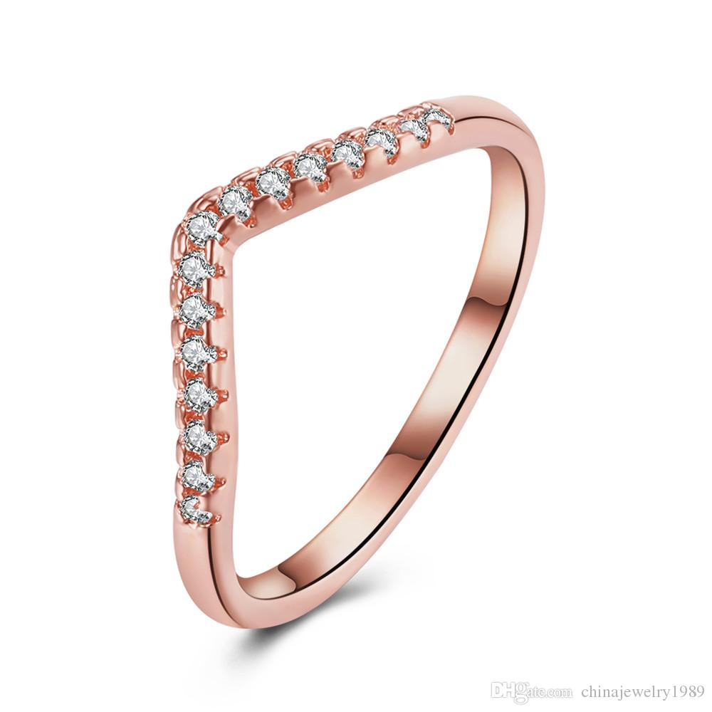 Simple Design Women Rings 2017 Fashion Trendy Rose Gold Color ...