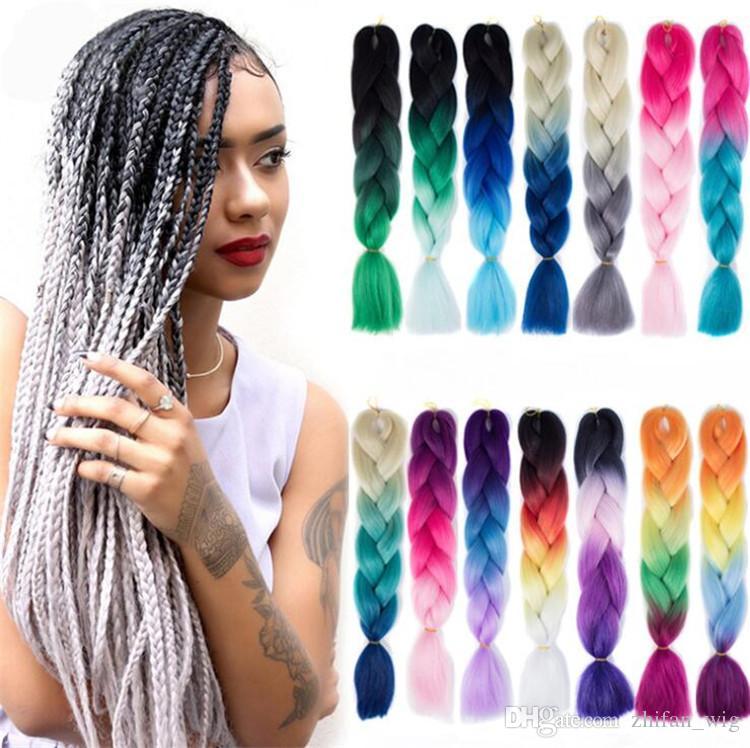 ZF jumbo tresse cheveux ombre deux trois couleurs cheveux 24 pouces 100g couleurs mélangées noir personnes mode sythetic