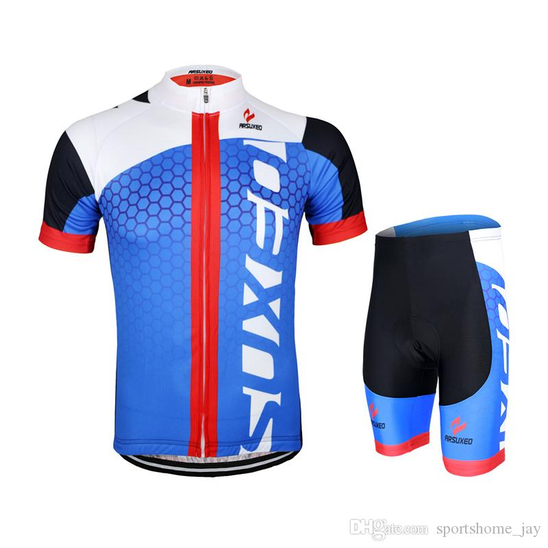 Blue Cycling Jerseys Kit 2017 Mens Cycling Short Sleeves Jersey Mountain Bike  Bicycle Sets MTB Shirts Wear Cycling Outfit Baggy Cycling Shorts From ... a2561b1d5