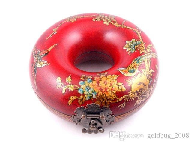 Red Finish Wood Round Necklace Jewelry Box Bird Flower Hand Painted Brass Lock