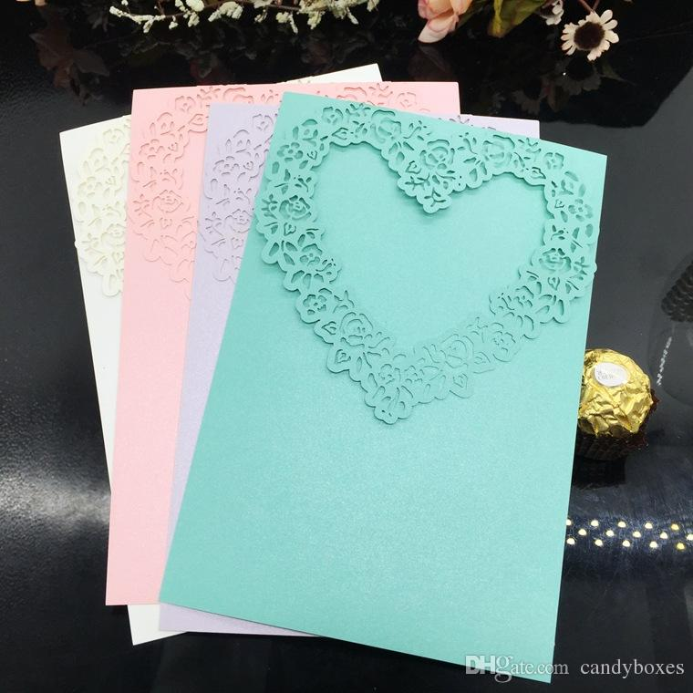 New Invitations Card Heart Shape Greeting Card Customize Party Decoration Cards Birthday Card Free Shipping Wholesale