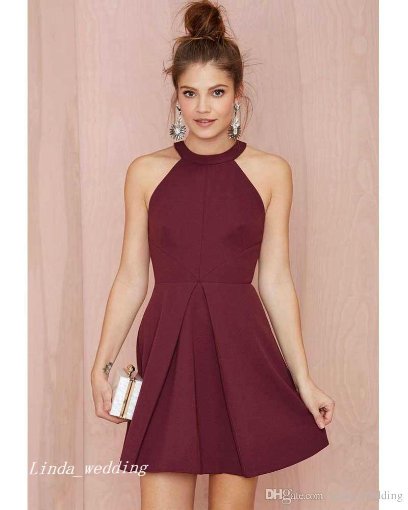 2019 burgund prom dress hohe qualität weinrot kurzes kleid für besondere anlässe party dress für abschlussfeier homecoming vestidos de fiesta cortos