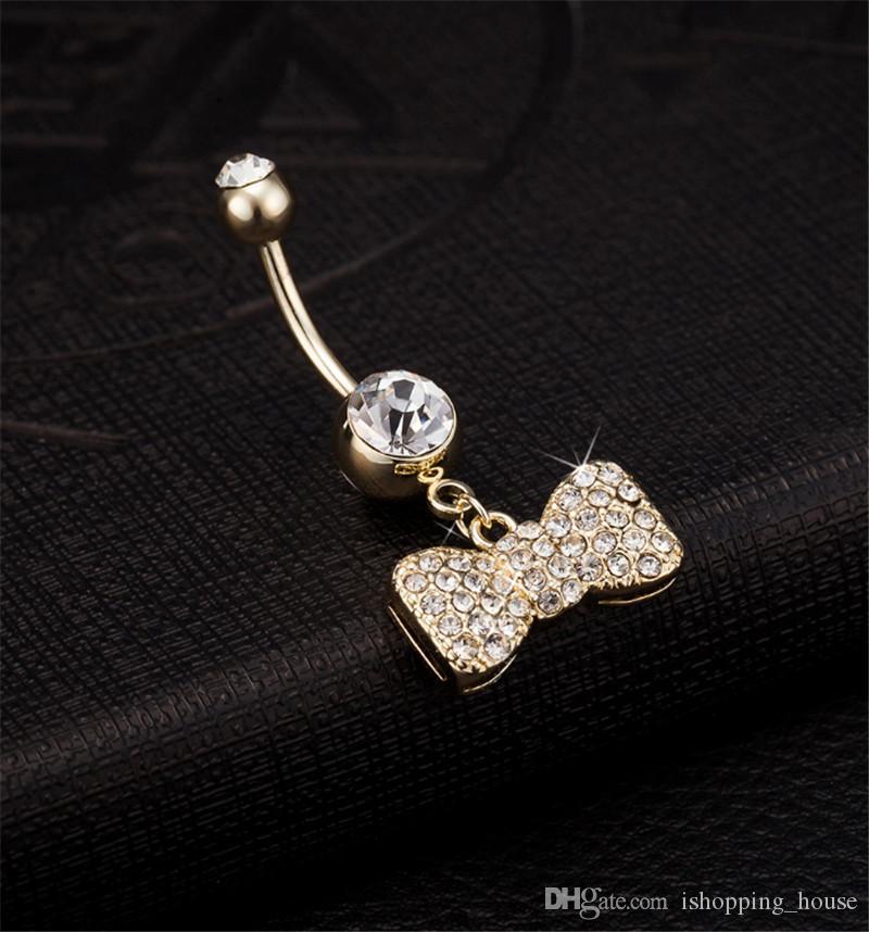 Новое прибытие горячие девушки довольно горный хрусталь лук пупок пупок штангой кольцо пирсинг для молодых сексуальных дам BR-027