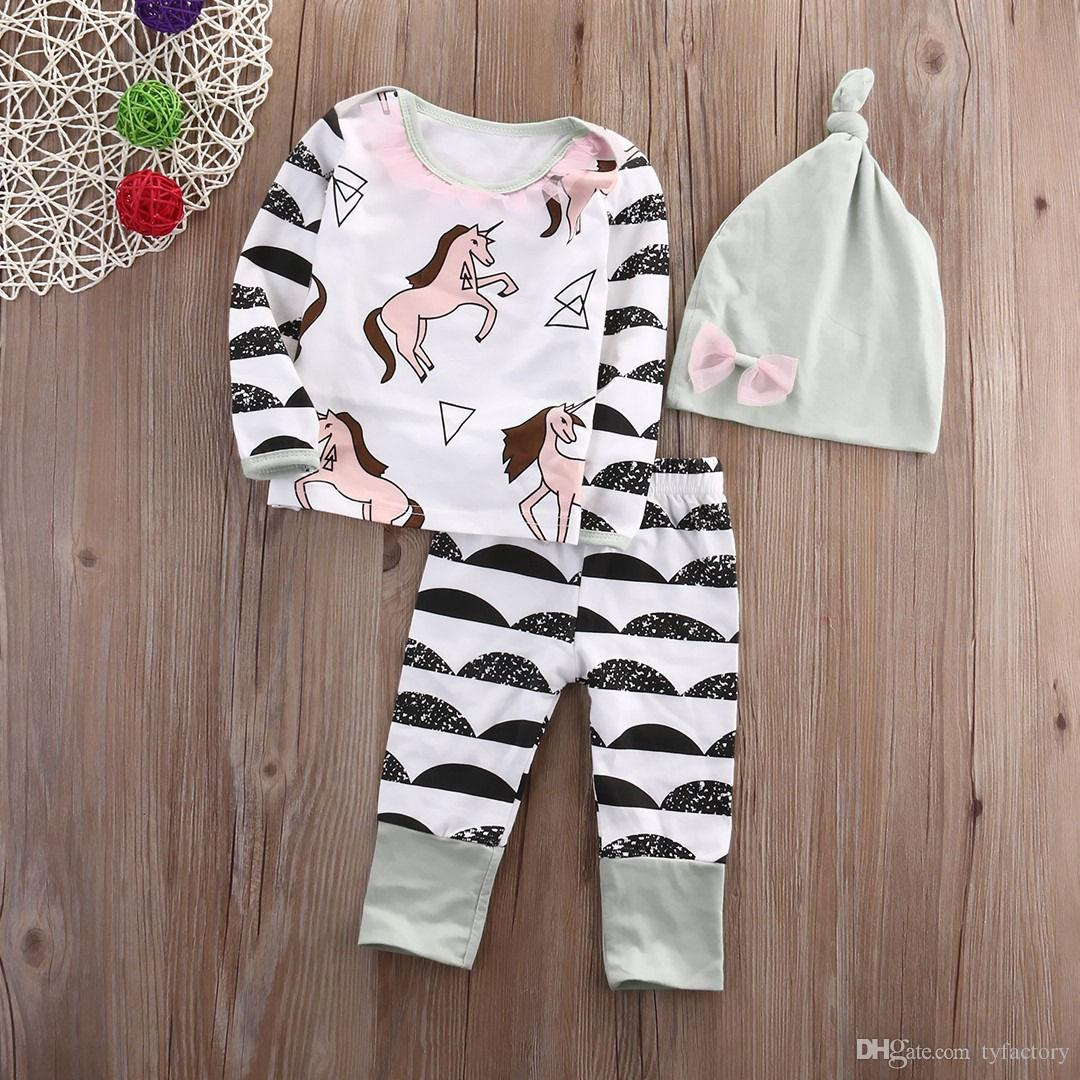 Newborn Kids Baby Boy Girl suits Horse print long sleeve t shirt+cute Pants+Hat Outfits bow casual children striped hot Clothes 0-24M
