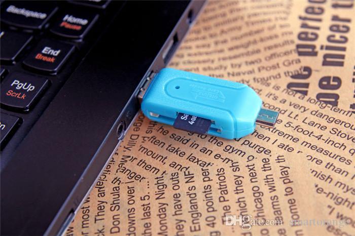무료 배송 유니버설 카드 리더 휴대 전화 PC 카드 리더 마이크로 USB OTG 카드 리더 OTG TF / SD 플래시 메모리 도매