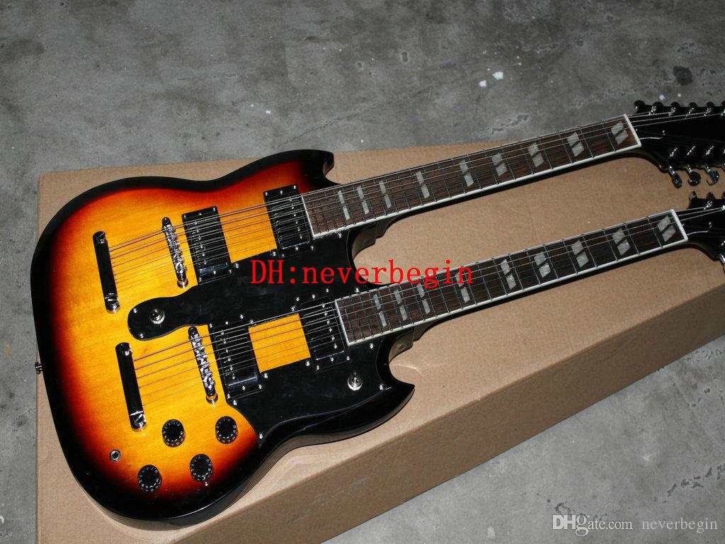 Double Neck Electric Guitar 1275 Double Neck Signed Aged body sunburst 6/12 strings Electric guitar