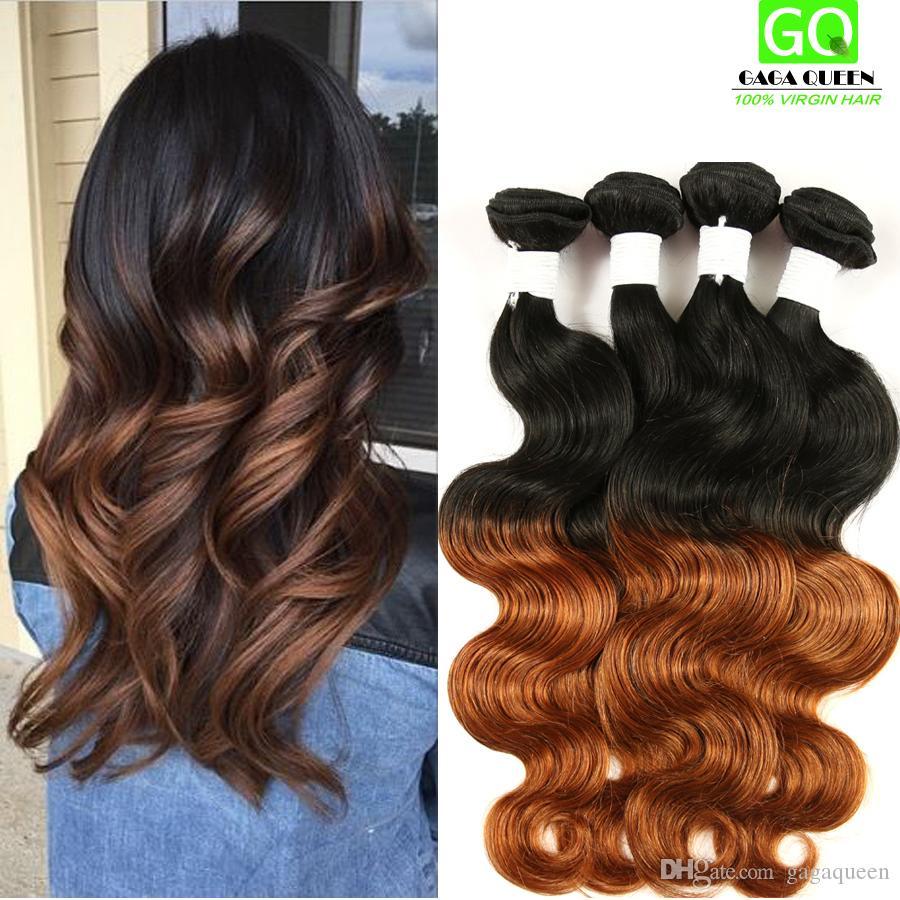 Ombre Human Hair Weave Malaysian Hair Body Wave Hair Weft 4bundles