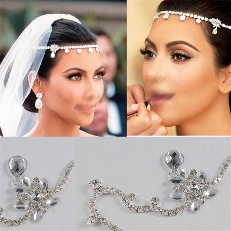 2017 Bridal Jewelry Crystal Forehead Drape Head Piece Hair