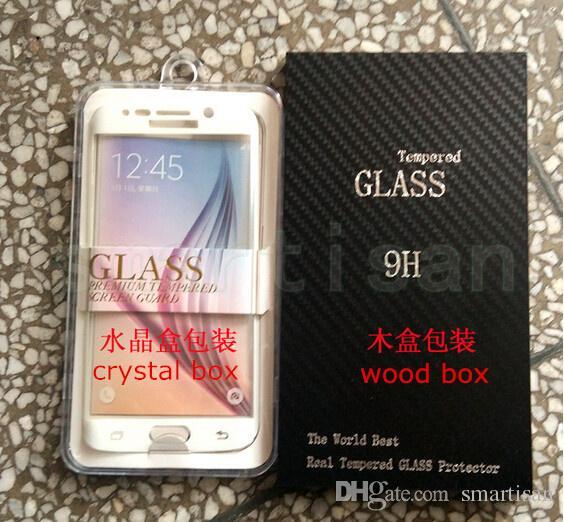 Voller Schirm-Schutz-ausgeglichenes Glas bedecken vollständigen Bildschirm-Kurven-Schirm-Schutz für Rand Samsung-S7 mit Kleinpaket / Holzkasten
