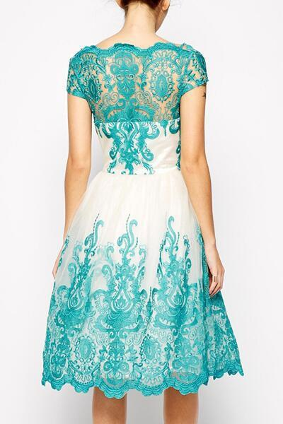 Handmade Lace Embroidery Evening Prom Dresses Plus Size 2016 Short Sleeves Blue Cocktail Celebrity Party Gowns Special Occasion Formal Dress