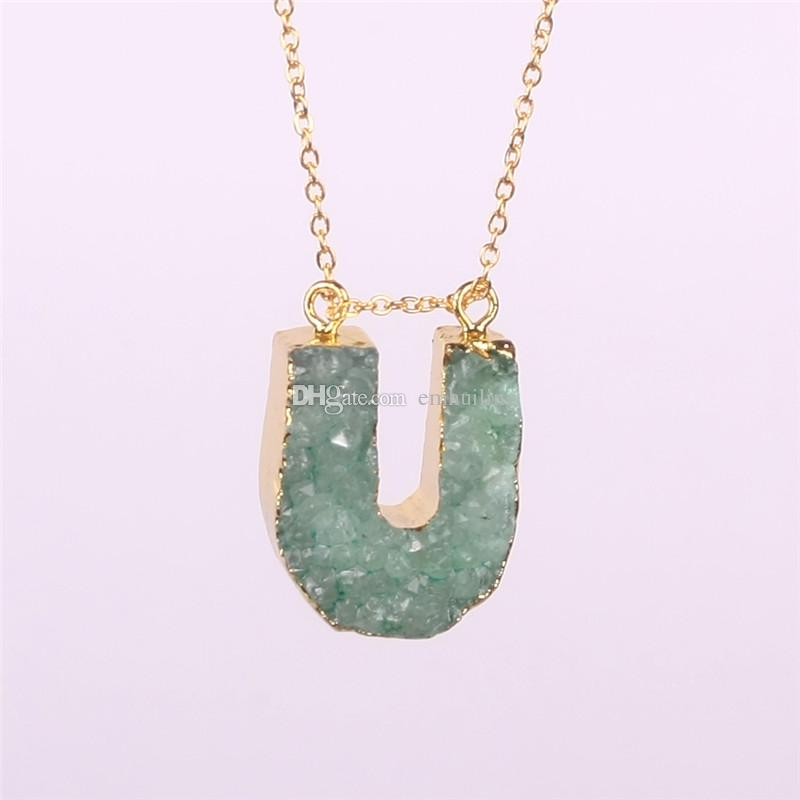 Novelty Products Unisex Jewellery Random Colors Lovely Agate Quartz Alphabet Letters Nature Stone Drusy Beads Druzy Charms Pendant Necklace