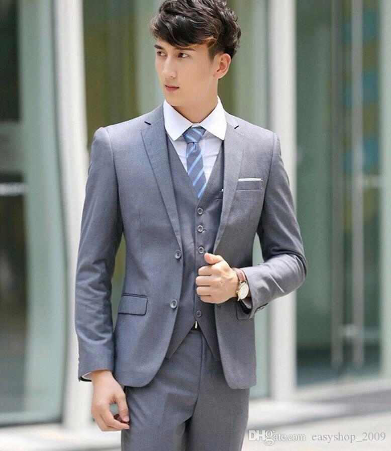 Hot Sale Light Gray Two Buttons Notch Lapel Men Suits Slim Fit Wedding Dress Groom Costume Tuxedos Prom Suits three-Pieces