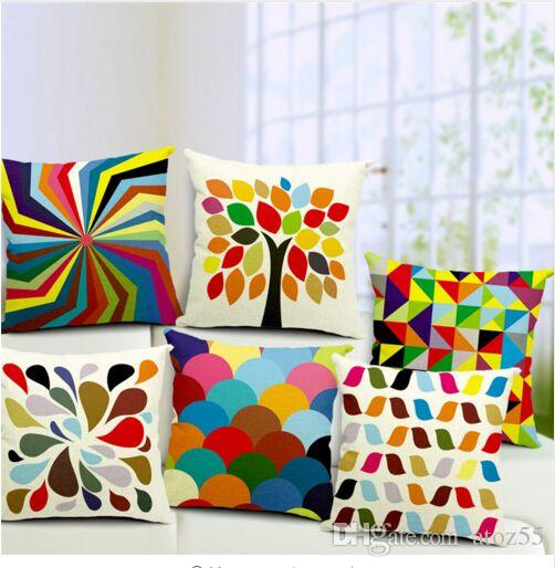 45X45cm modern decorative throw pillows case geometric cotton linen housse  coussin pillowcase in stock cushion home decor 45x45