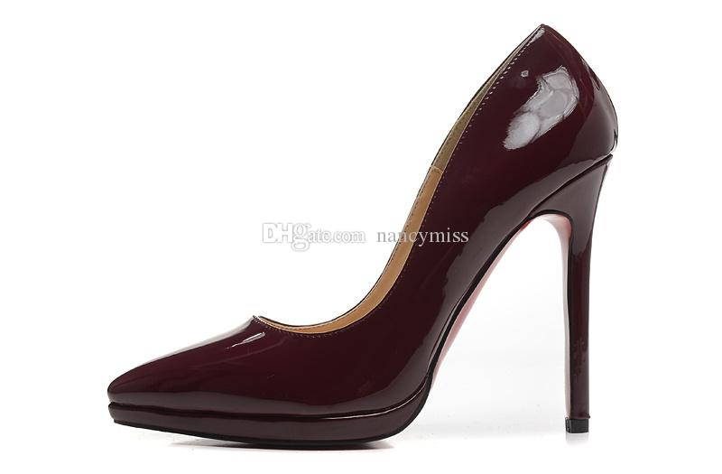 059d4aeb2cd1 Wine Red Patent Leather Pointed Toe Low Platform Women Pumps