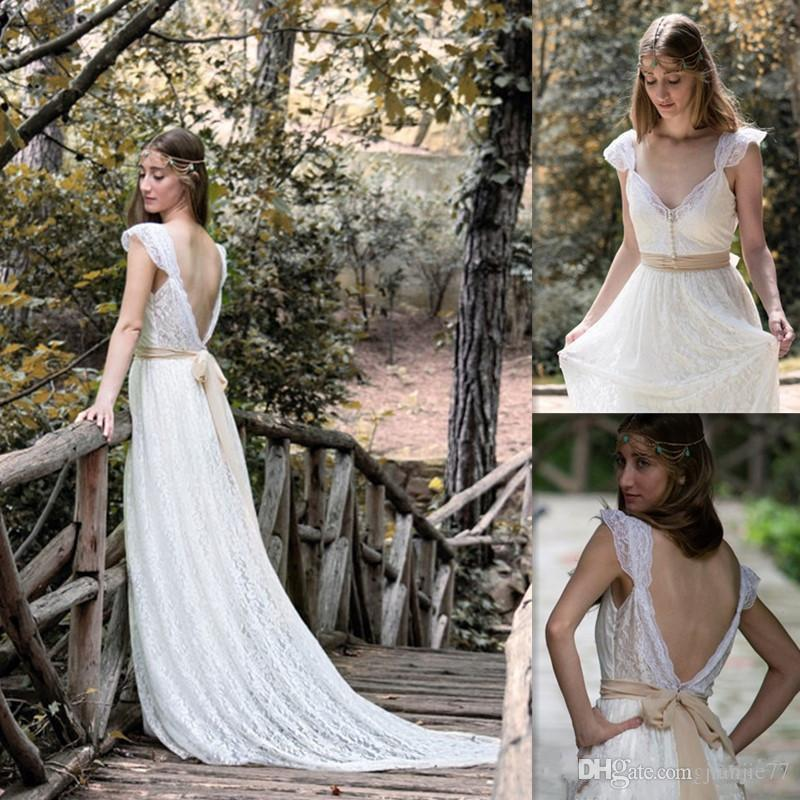 Discount Bohemian Wedding Dresses Ivory Lace Cap Sleeves Open