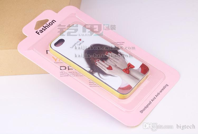 Wholesale Customize Logo Fashion Pink Rainbow Cardboard PVC Blister Smart Phone Case Packaging Box For iPhone 7/7 plus