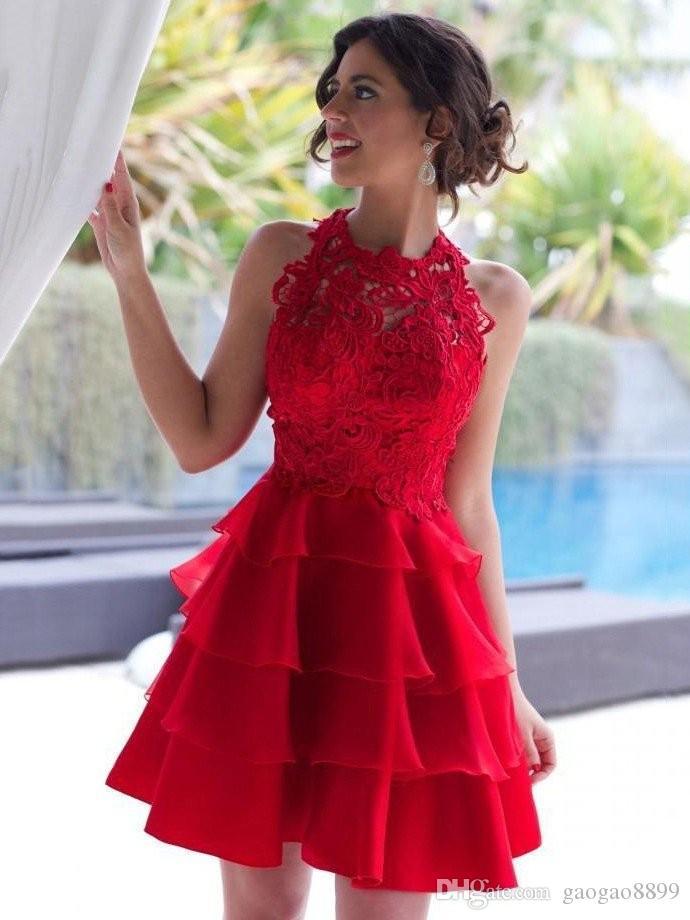 Hot Red Sexy Short A-Line Homecoming Dresses Halter Neck senza maniche con scollo in pizzo Vestido 2019 Semi Prom Proms 8th Grade Party DTJ