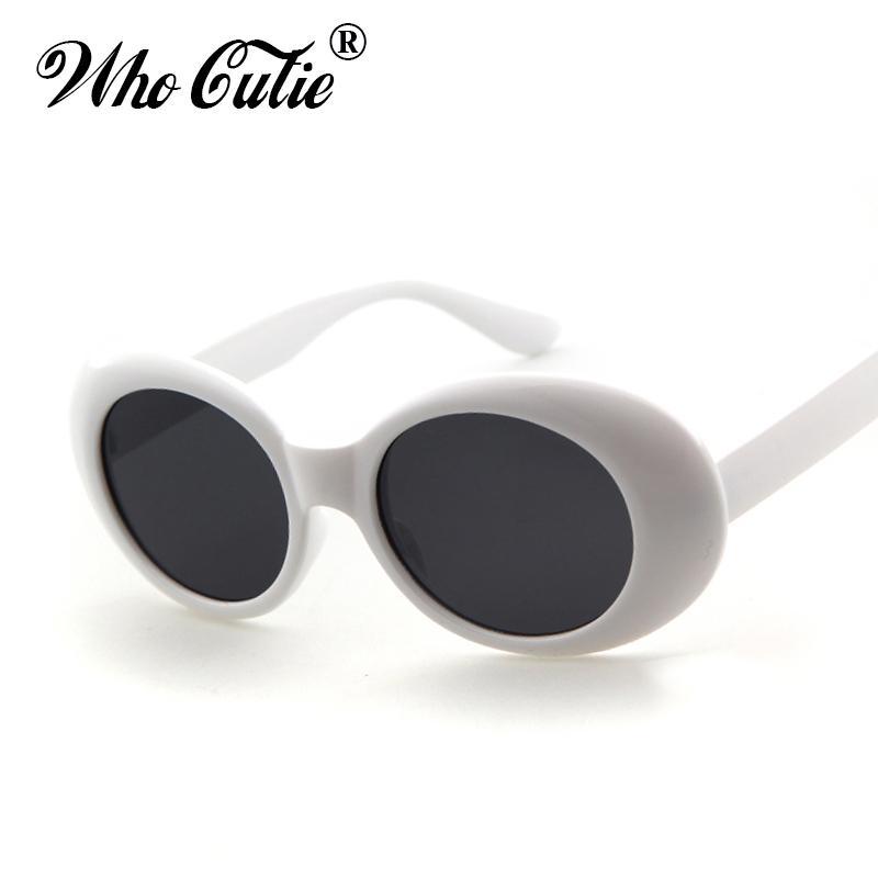5a4a39497 Compre Clout Goggles Retro Vintage Branco Preto Oval Óculos De Sol NIRVANA  Kurt Cobain Óculos Alien Shades 90 S Branco Oval Óculos De Sol Do Punk Rock  ...