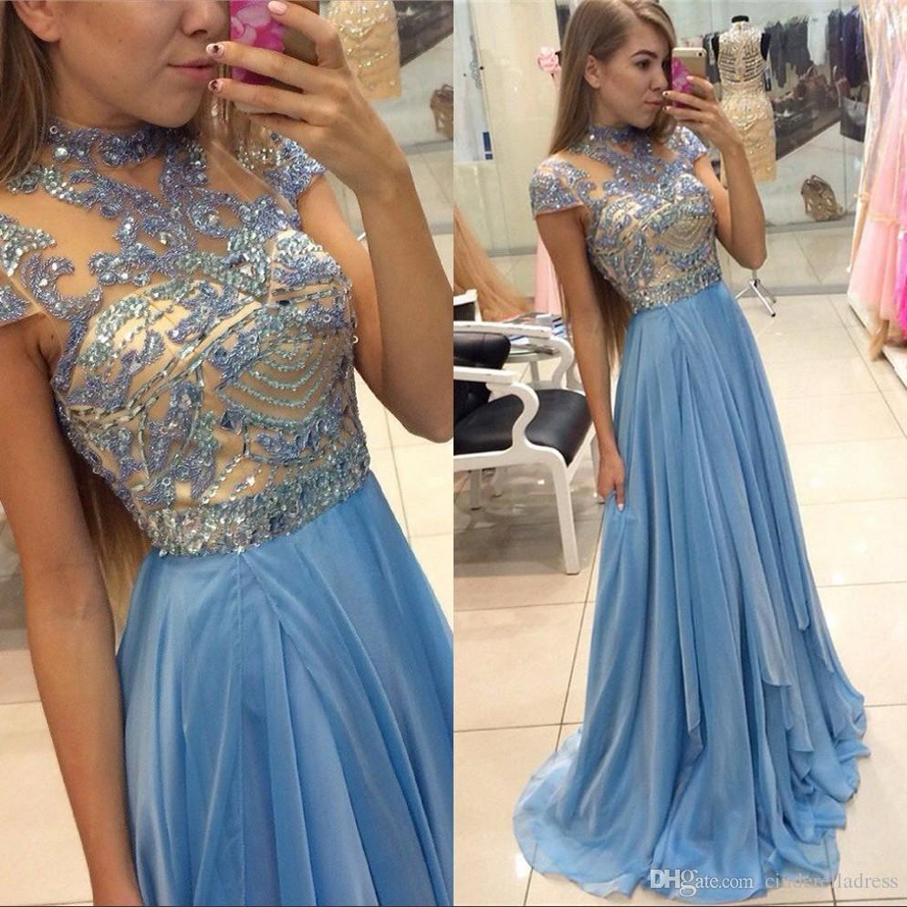 f1a37bf33ac Elegant Sky Blue Long High Neck A Line Chiffon Crystals Prom Dresses Short  Sleeves Long Evening Gowns Sheer See Through Pageant Gowns BA3824 Halter  Prom ...