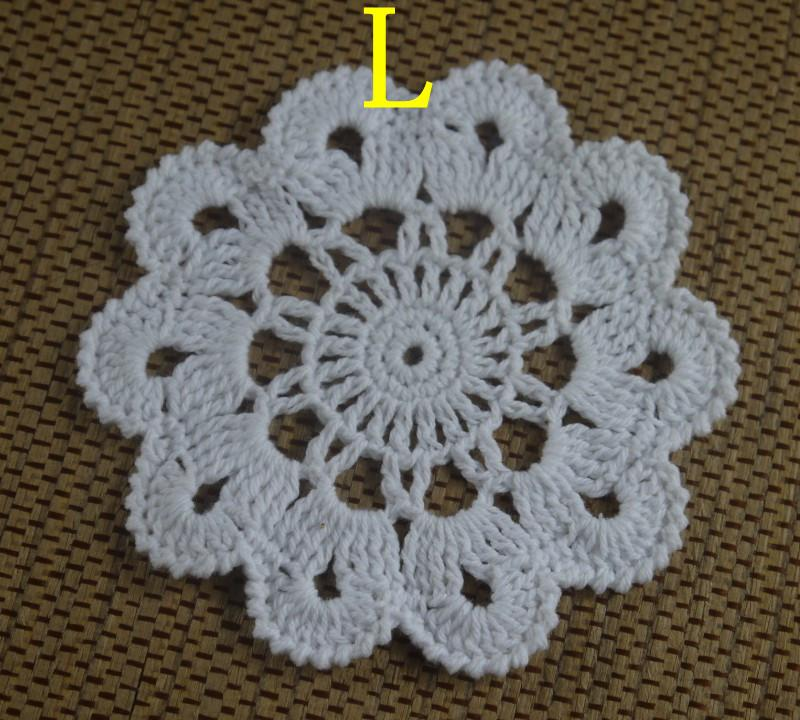 wholesale 100% cotton hand made crochet doily table cloth 3 designs custom cup mat round 8-13cm crochet applique aa3h53