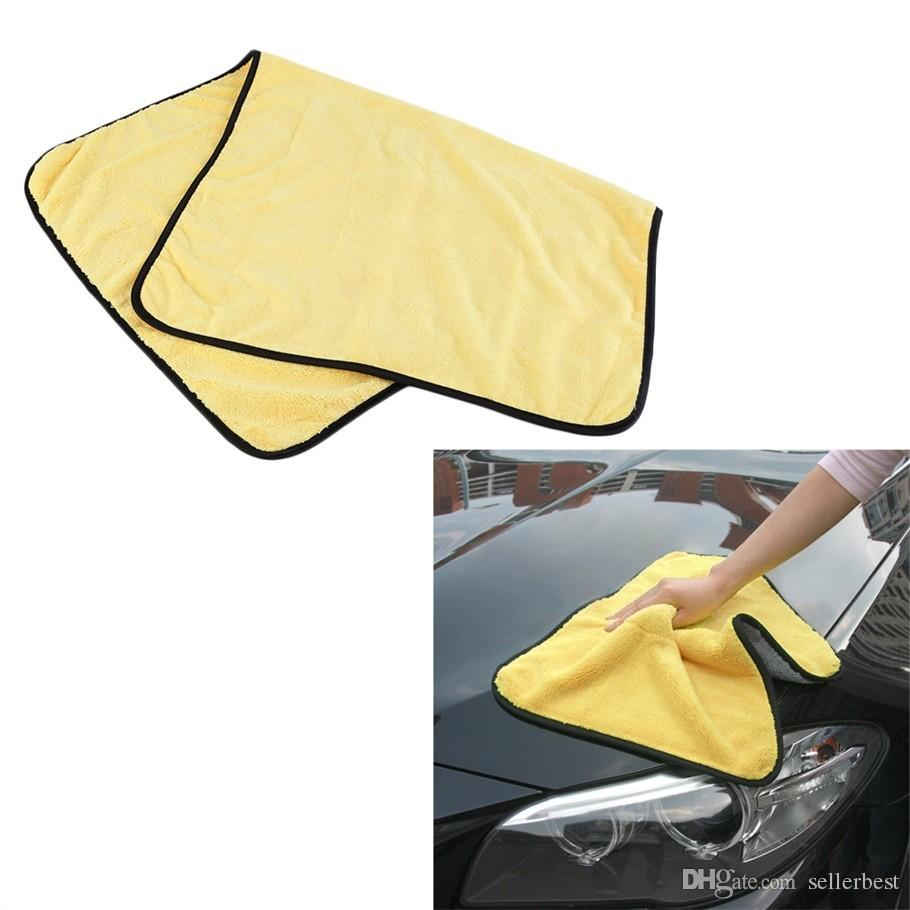 TIROL Tamanho Grande Microfibra Toalha De Limpeza Do Carro Toalha Multifuncional Lavagem Lavar Panos de Secagem 92 * 56 cm Amarelo