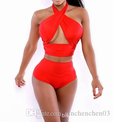 WOMEN Sexy Wrap Bikini Set Criss Cross Halter Top High Waisted Bathing Suits Print Swimwear Women Bandage Swimsuit Plus Size
