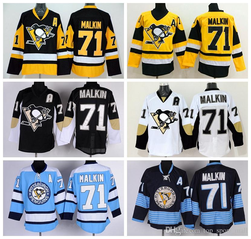 2019 Pittsburgh Penguins 71 Evgeni Malkin Hockey Jerseys Winter Classic  Malkin Penguins Jersey Retro Black Blue White Yellow From Top sport mall 983b6b982