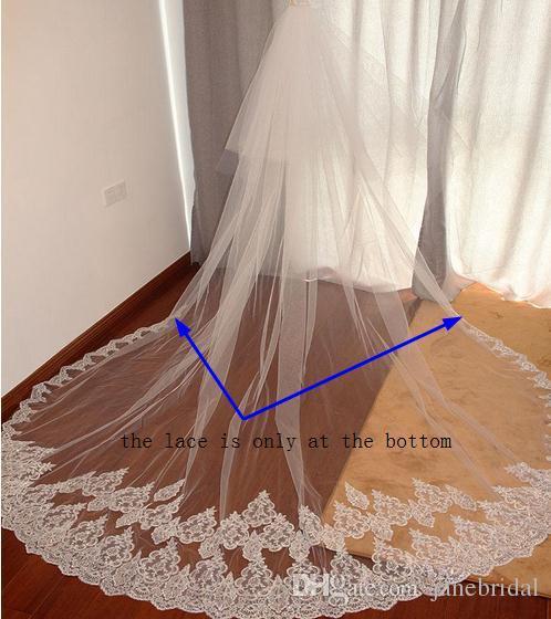 3 Meters Two Layers Bling Sequins Lace Edge Long White Ivory Wedding Veils Bridal Veil Velos De Novia