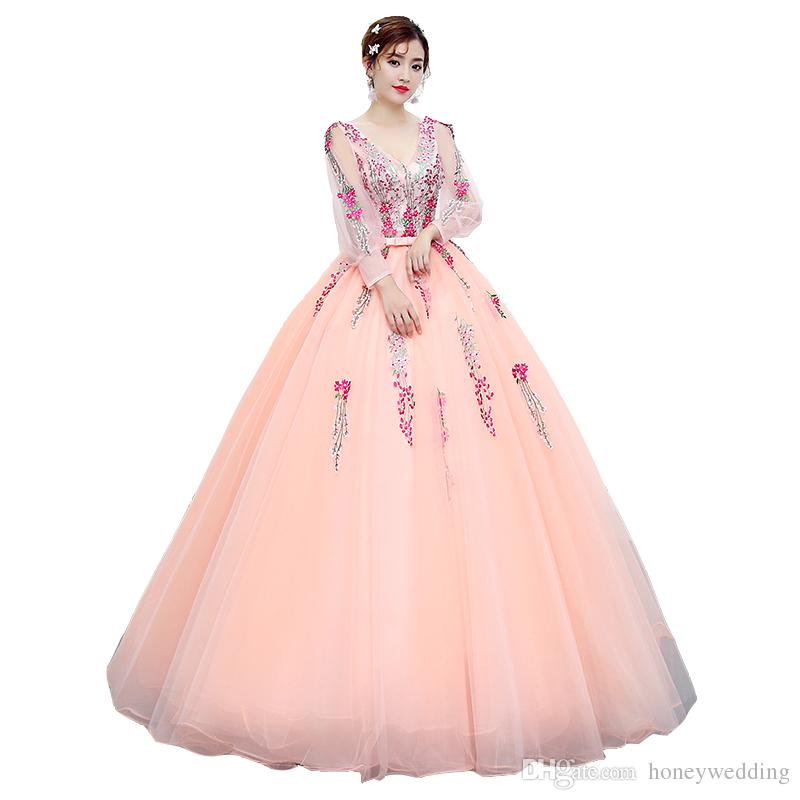 8d8e80b19575 Long Sleeves Prom Dresses 2017 New Cheap Candy Color Pink Sweet 16 Teens  Formal Party Masquerade Evening Gowns Real Photo Short Dresses For Prom  Short ...
