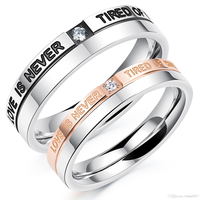 Amoureux Romantique Anneaux De Mariage Noir Rose Plaqué Or Avec Cubique Zircone Diamant Acier Inoxydable Couples Bijoux Kgj507