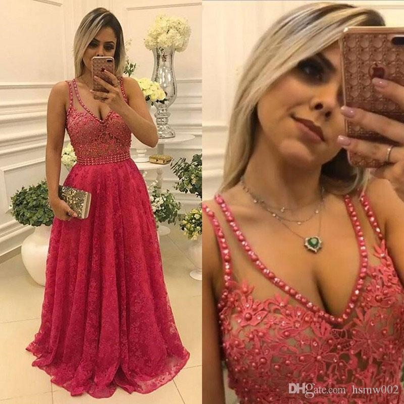 Elegant V-Neck A-Line Sweep Train Lace Prom Dress Sexy See Through Top Prom Party Dresses Robe De Soiree Evening Gowns Plus Size