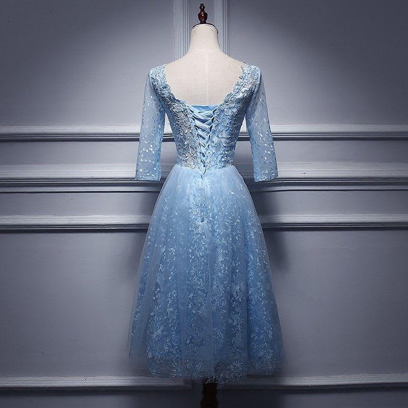 Real Photo Elegant Hellblau Volle Spitze Langarm Tee Länge Ballkleid Backless Lace Up Bridemaid Kleider Kurze Party Kleid Onepiece