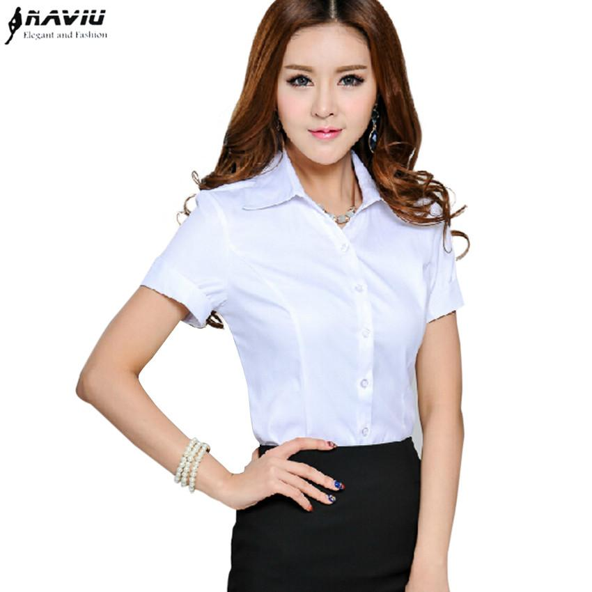 452f0f4988 Fashion 2015 new OL office women Business shirt workwear short sleeve top  career light blue white solid blouse plus size S-4XL