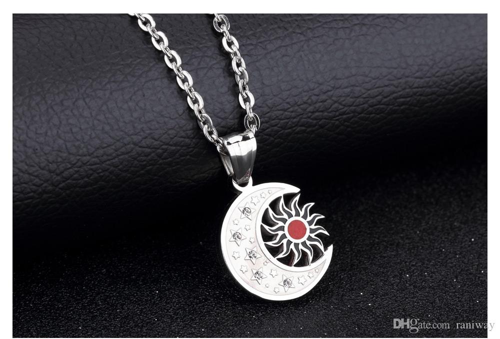 Meine Sonne und Sterne, Mond meines Lebens Edelstahl Anhänger Halskette Silber Mode Herren Halskette Kette 19,6 Zoll